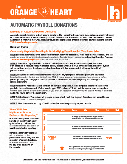 2020 Automatic Payroll Donations 1 X